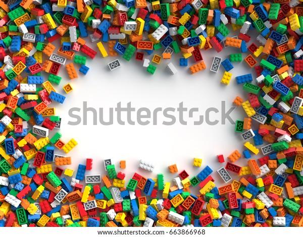 Цветные игрушки кирпичи с местом для вашего контента. 3D Rendering.