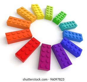 Colored toy bricks. See my portfolio for more similar images.