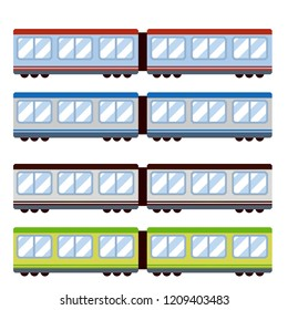 Colored train Car-red, blue, green. Vehicle for transportation of people and goods. Set of high-Speed modern transport