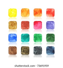 Colored watercolor blank web buttons with reflection on white background