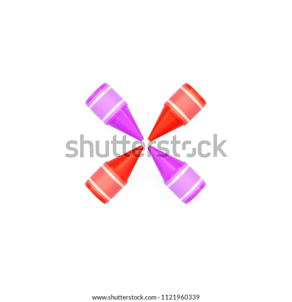 Colored wax crayons assembled like mathematical operation symbol of multiplication or cross on white background, 3D rendered image for education and childish typography