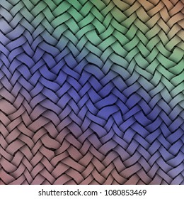 Colored weft. Woven texture background. Vintage colors. Weft knitted. Background with braided pattern. Shades of color.