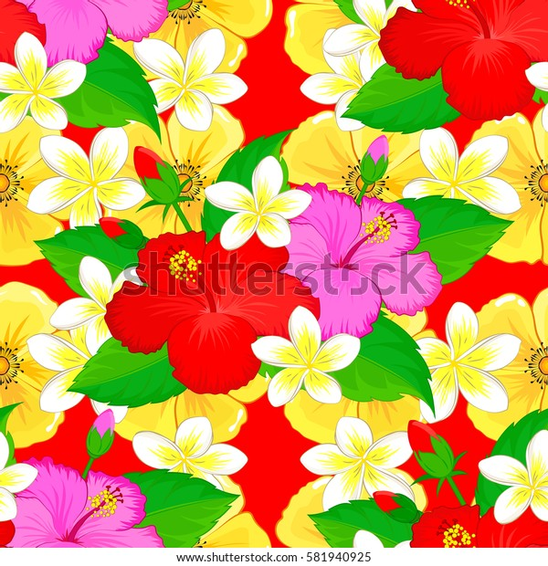 Colorfil elements for design. Floral pattern for wedding invitations, greeting cards, print, gift wrap, fabric or textile. Elegant seamless pattern with many decorative flowers on red background.