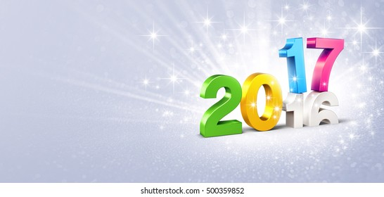 Colorful 2017 New Year type over 2016, on a festive silver background - 3D illustration