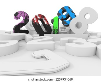 Colorful 2019 New Year Cyphers Concept. 3D render