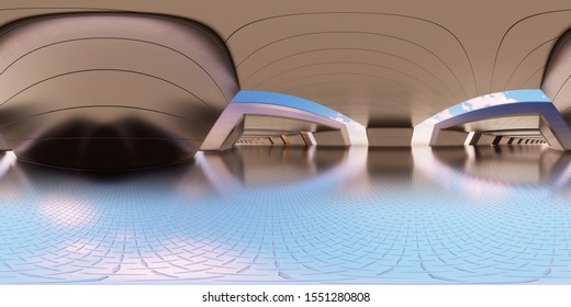 Colorful 360 degree abstract panoramic background: metal tunnel.  (Car backplate, 3D rendering computer digitally generated illustration.)