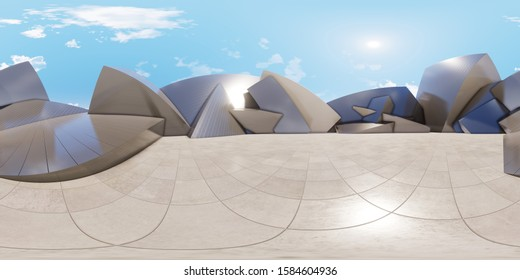 Colorful 360 degree abstract panoramic background: geometric metal cubes wall. ( Car backplate, 3D rendering computer digitally generated illustration.)
