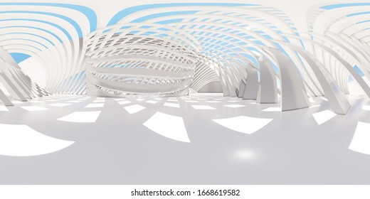 Colorful 360 degree abstract panoramic background: geometric white ring.  ( Car backplate, 3D rendering computer digitally generated illustration.)