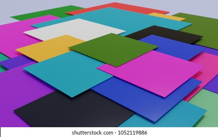 Colorful 3d background with flat square shapes