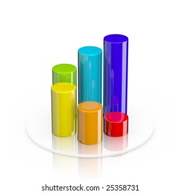 Colorful 3d cylindrical bar graph isolated on white