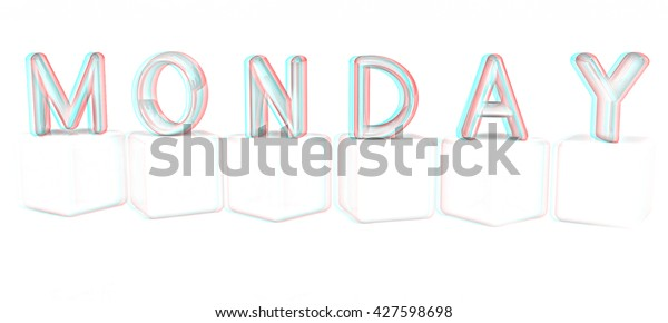 Colorful 3d Letters Monday On White Stock Illustration 427598698
