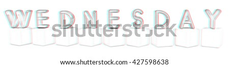 colorful 3d letters wednesday on white cubes on a white background pencil drawing