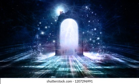 Colorful 3d rendering doorway to a powerful electrifying gate in space that leads to another dimension