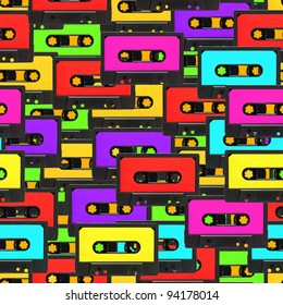 Colorful 80s analogue audio tape background repeatable pattern