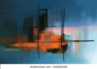 Colorful abstract acrylic painting. Surreal landscape artwork in contemporary style. Modern art on blue background.