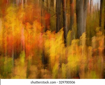 Colorful abstract autumn woods transformed into a vibrant painting