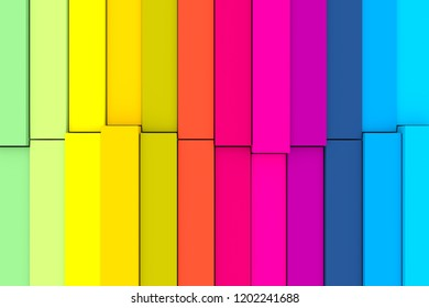 colorful abstract background with cube and wave 3D illustration