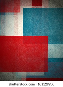 colorful abstract background in red white and blue, patriotic background for elections  or July 4th background with white old paper vintage grunge background texture,  black edge design on frame
