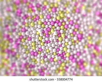 Colorful abstract chaotic structure balls background, pharmacy and medical concept, 3d rendering