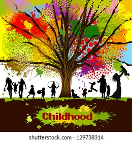 Colorful abstract childhood. Raster
