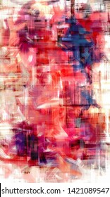 Colorful abstract dirty art painting. Vertical bright artwork with blue and red accents on canvas made with long paint strokes
