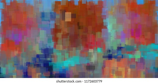 Colorful Abstract Geometric Painting. Square figures. 3D rendering
