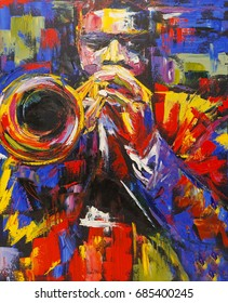 Colorful abstract jazz trumpet player illustration