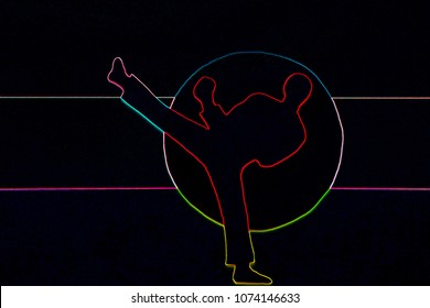 Colorful abstract neon sign of judo karate, fighter on a dark background
