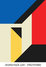 Colorful abstract neoplasticism and cubism art style. Painting with primary color in Mondrian style. perfect for clothes as well as your interior decoration and your accessories.