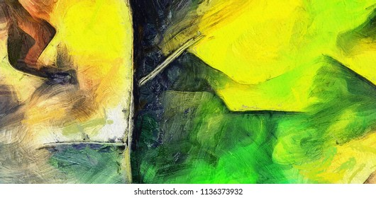 Colorful Abstract Oil Painting. 3D rendering