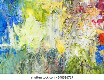 colorful  abstract oil painting texture background, palette knife, thick brush strokes, multi color background