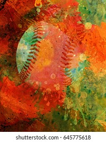 Colorful abstract painting of a baseball