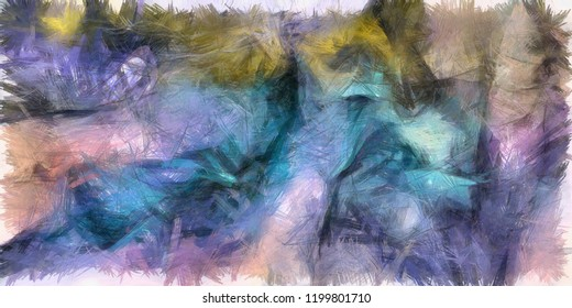 Colorful Abstract Painting Blue Azure Brush Strokes. 3D rendering