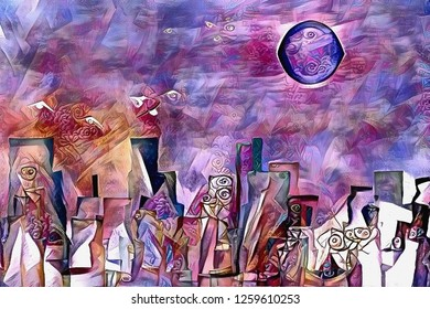 Colorful abstract painting. Dream city under mystic moon. 3D rendering