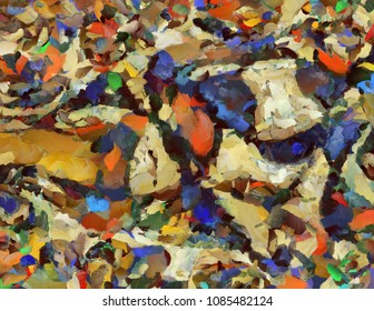 Colorful abstract painting. Oil on canvas, brush strokes. 3D rendering