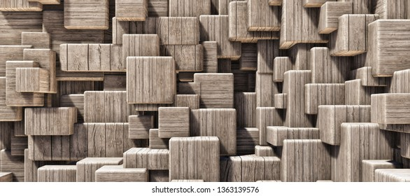 Colorful abstract panoramic background: geometric wood grain cube wall. ( Car backplate, 3D rendering computer digitally generated illustration.)