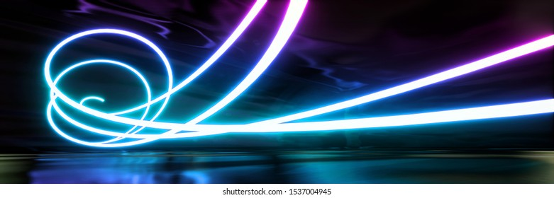 Colorful abstract panoramic background: geometric neon curve. ( Car backplate, 3D rendering computer digitally generated illustration.)