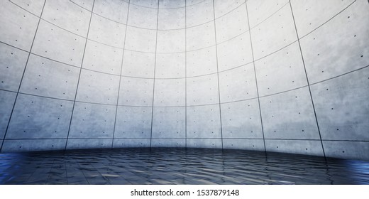 Colorful Abstract panoramic background: geometric stage. (Car backplate, 3D rendering computer digitally generated illustration.)