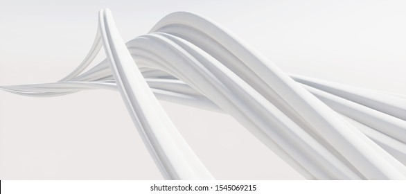 Colorful abstract panoramic background: geometric white matte curve. ( Car backplate, 3D rendering computer digitally generated illustration.)