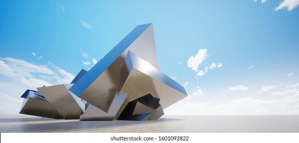 Colorful abstract panoramic background: geometric metal cubes wall. ( Car backplate, 3D rendering computer digitally generated illustration.)