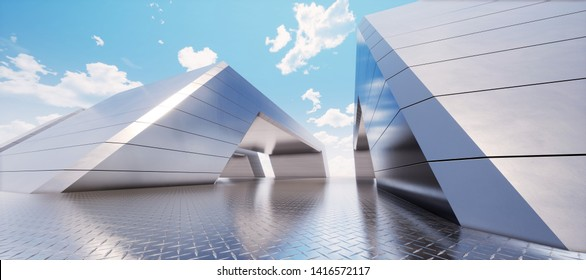 Colorful abstract panoramic background: metal tunnel. (Car backplate, 3D rendering computer digitally generated illustration.)