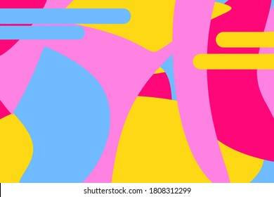 Colorful abstract pop art colors background design. Yellow, purple and blue colour vivid poster, flyer or brochure wavy stroke design. Digital multicolor wallpaper to use for advertising or commercial