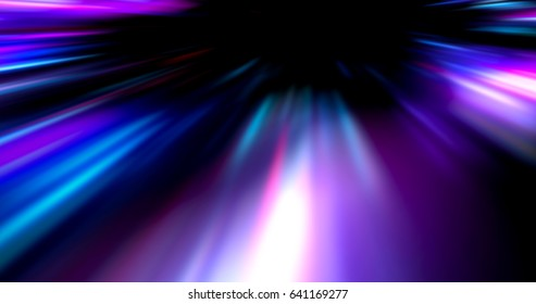 Colorful abstract  radiant flash. Explosion hyper acceleration race for speed in futuristic outer space.