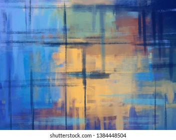 Colorful abstract reflection painting with blue and yellow accents. Dark horizontal paint strokes and vertical lines