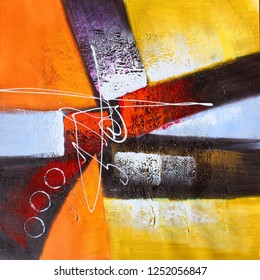 Colorful abstract texture modern art work canvas oil painting background
