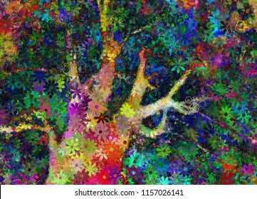 Colorful Abstract Tree. 3D rendering