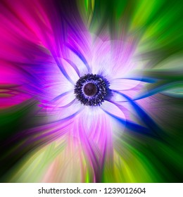 Colorful abstract twirl effect background with flower
