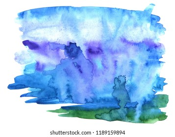 colorful abstract watercolor backround with blue and navy tints