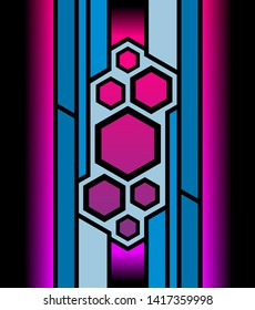 Colorful abstraction in blue, pink, and black colors. Print. Cartoon blue stems and geometrical figures