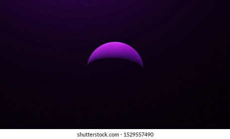 Colorful abstraction of unknown purple planet rotating among endless stars in outer space. Animation. Day and night on the planet, light and shadow, spinning colorful sphere in outer space.